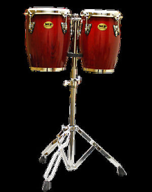 Mano Percussion Red Wine Mini Conga Set 9 & 10 inch with Stand MP1690-RW