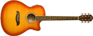 Oscar Schmidt Auditorium Style Acoustic-Electric Guitar - Flame Cherry Sunburst OACEFCS-A - The Guitar World