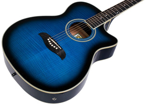 Oscar Schmidt Acoustic-Electric Guitar Pack Grand Auditorium Trans Blue OACEFTBL-A - The Guitar World