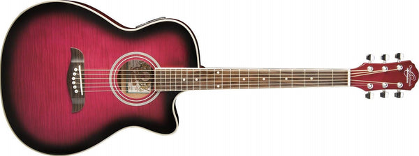 Oscar Schmidt Flame Maple Auditorium Style Cutaway Acoustic-Electric Guitar - Transparent Purple OACEFTPB-A - The Guitar World