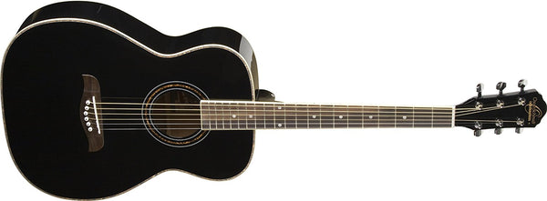 Oscar Schmidt Folk Style Acoustic Guitar, Select Spruce Top Black OF2B-A - The Guitar World