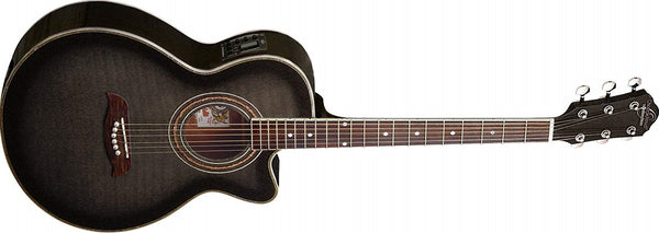 Oscar Schmidt Acoustic-Electric Guitar, Flame Trans Black OG10CEFTB-A - The Guitar World