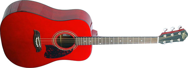 Oscar Schmidt Dreadnought Acoustic Guitar - Trans Red OG2TR-A - The Guitar World