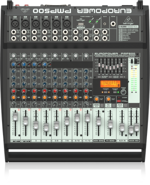 BEHRINGER EUROPOWER PMP500 500-Watt 12-Channel Powered Mixer with KLARK TEKNIK Multi-FX Processor, Compressors, FBQ Feedback Detection System and Wireless Option - The Guitar World
