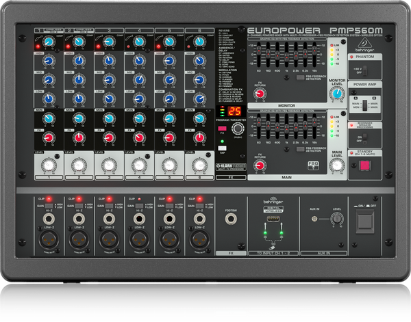 BEHRINGER EUROPOWER PMP560M 500-Watt 6-Channel Powered Mixer with KLARK TEKNIK Multi-FX Processor, Compressors, FBQ Feedback Detection System and Wireless Option - The Guitar World