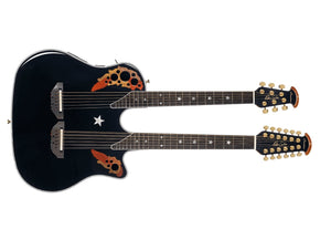 Ovation Richie Sambora Signature Elite Double Neck Gloss Black Acoustic Electric Guitar RSE225-5 - The Guitar World