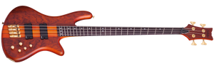 Schecter 4-String Fanned Fret Bass Guitar Honey Stain w/ Geartree Cloth and Hard Case 2793