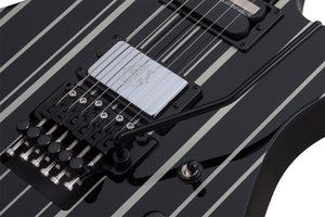Schecter Synyster Gates Custom-S Ebony Board Electric Guitar Gloss Black/Silver Stripes 1741-SHC - The Guitar World