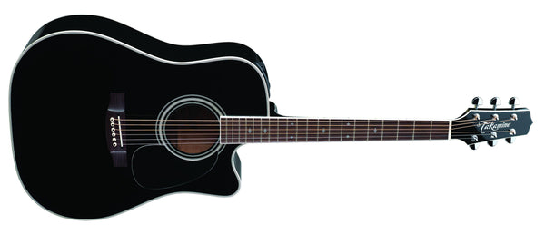 Takamine Pro Series Dreadnought Acoustic Electric Guitar - Black with Case EF341SC - The Guitar World