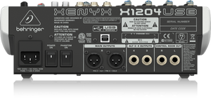 BEHRINGER XENYX X1204USB Premium 12-Input 2/2-Bus Mixer with XENYX Mic Preamps & Compressors, British EQs, 24-Bit Multi-FX Processor and USB/Audio Interface - The Guitar World