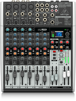 BEHRINGER XENYX X1204USB Premium 12-Input 2/2-Bus Mixer with XENYX Mic Preamps & Compressors, British EQs, 24-Bit Multi-FX Processor and USB/Audio Interface