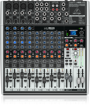BEHRINGER XENYX X1622USB Premium 16-Input 2/2-Bus Mixer with XENYX Mic Preamps & Compressors, British EQs, 24-Bit Multi-FX Processor and USB/Audio Interface