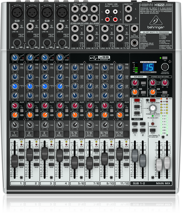 BEHRINGER XENYX X1622USB Premium 16-Input 2/2-Bus Mixer with XENYX Mic Preamps & Compressors, British EQs, 24-Bit Multi-FX Processor and USB/Audio Interface - The Guitar World