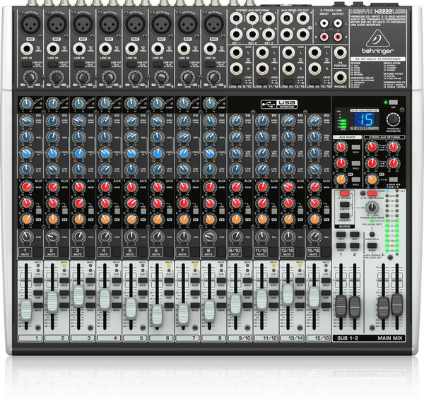 BEHRINGER XENYX X2222USB Premium 22-Input 2/2-Bus Mixer with XENYX Mic Preamps & Compressors, British EQs, 24-Bit Multi-FX Processor and USB/Audio Interface - The Guitar World