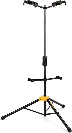 HERCULES AUTO GRIP SYSTEM (AGS) DOUBLE GUITAR STAND, FOLDABLE BACKREST GS422B - The Guitar World