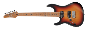 Ibanez Prestige Lefty Roasted Maple Neck with Seymour Duncan Hyperion Pickups and Hardshell Case in Tri Fade Burst Flat