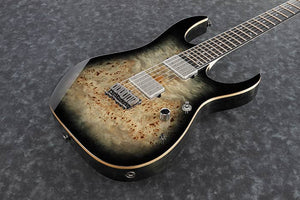 IBANEZ RG PREMIUM POPLAR BURL TOP WITH GIG BAG IN CHARCOAL BLACK BURST - The Guitar World