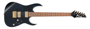 IBANEZ RG ASH TOP ROASTED MAPLE NECK WITH DIMARZIO PICKUPS IN BLACK WAVE BLACK - The Guitar World