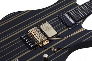 Schecter Synyster Gates Custom-S 6 String Electric Guitar - Black/Gold Stripes 1742-SHC - The Guitar World