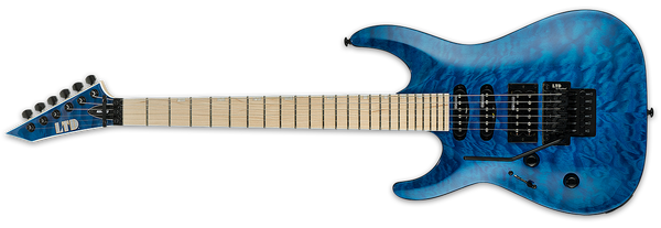 ESP LTD MH-203QM SEE THRU BLUE LEFT-HANDED - The Guitar World