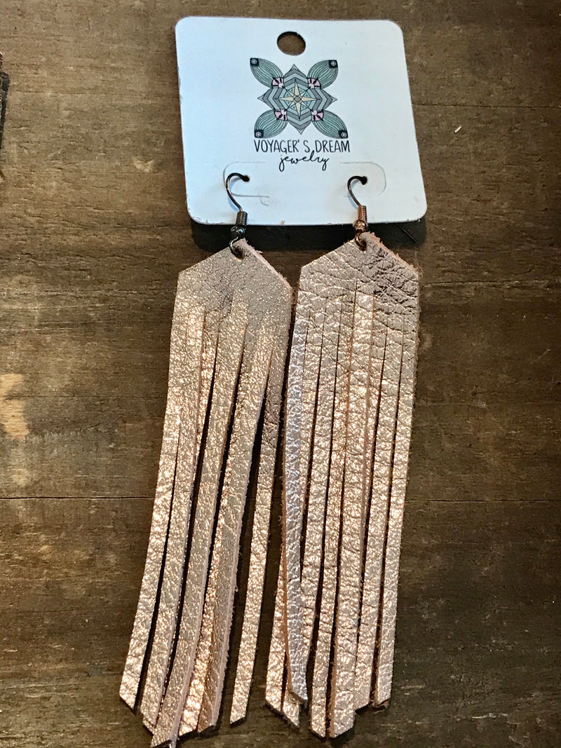 Voyagers Leather Fringe Earrings - Addi & Ains Boutique