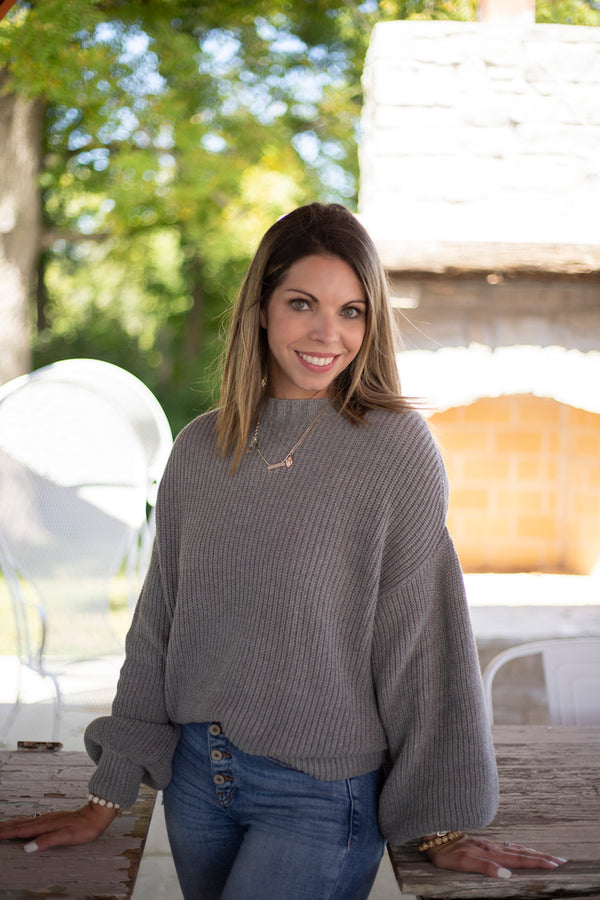 Balloon Sleeve Sweater - Addi & Ains Boutique