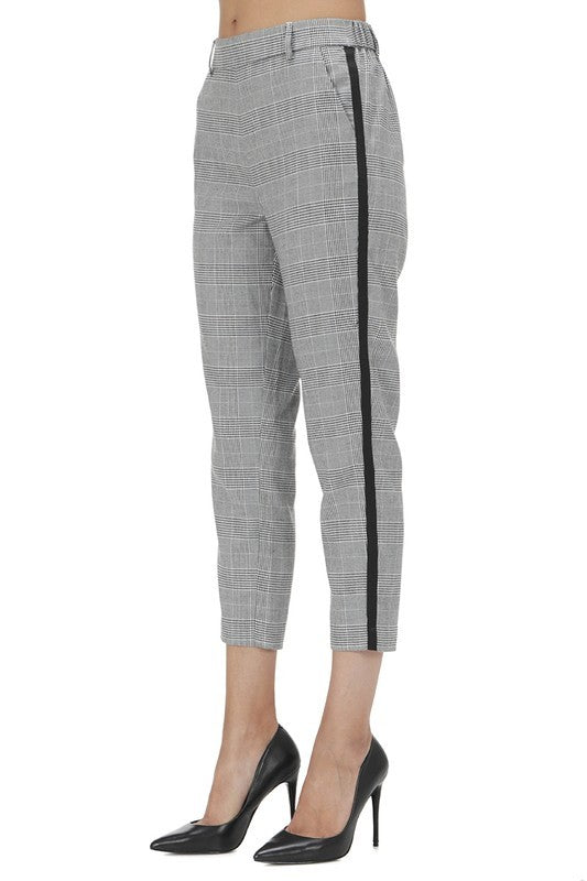 Side Stripe Plaid Pants-XS
