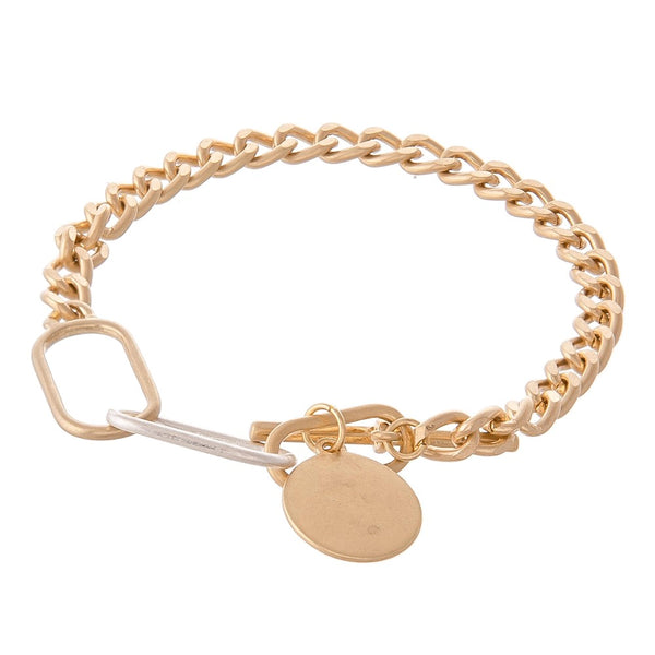 Curb Chain Toggle Bar Bracelet