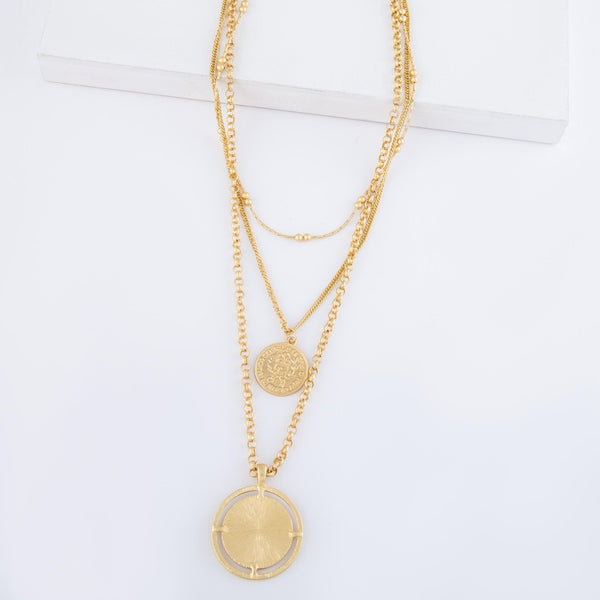 Chain Layered Coin Necklace