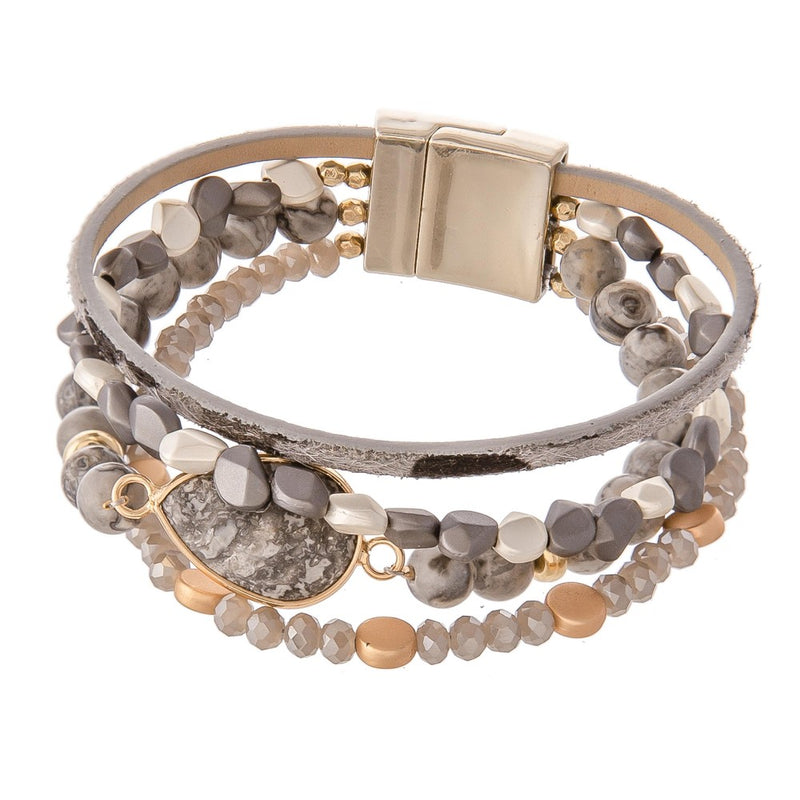 Natural Stone Animal Print Bracelet Stack