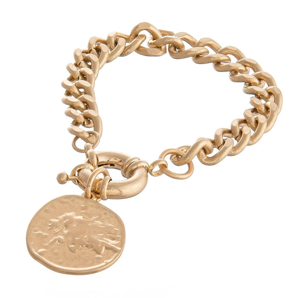 Curb Chain Coin Bracelet