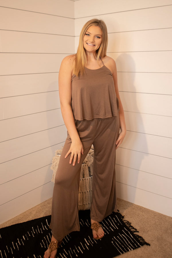 Halter Wide Leg Jumpsuit - Addi & Ains Boutique
