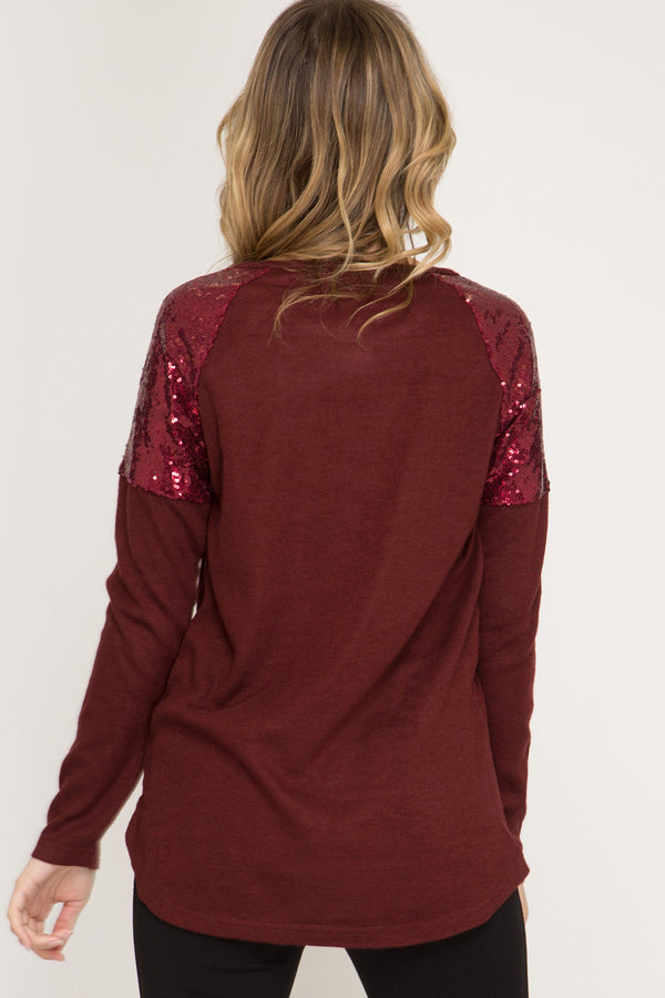 Sequin Sleeve Top - Addi & Ains Boutique