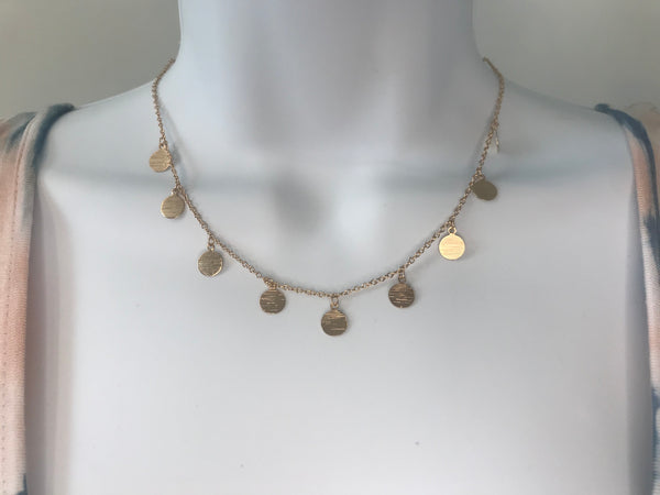 Scratched Disc Dangle Necklace - Addi & Ains Boutique