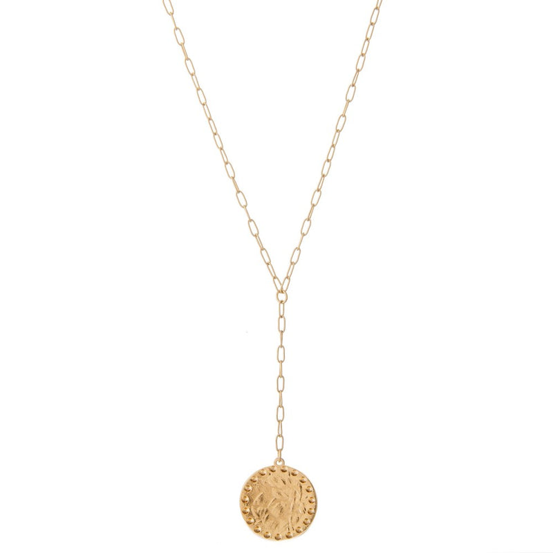 Hammered Disc Y Necklace