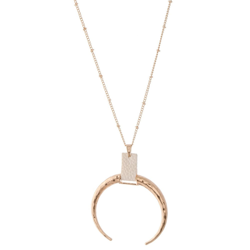 Crescent Pendant Necklace with Cuff