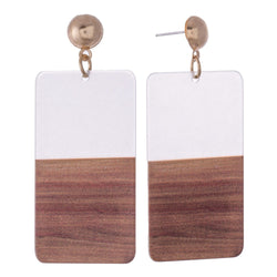 Half Dip Faux Wood Earrings