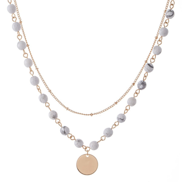 Beaded Layer Coin Necklace
