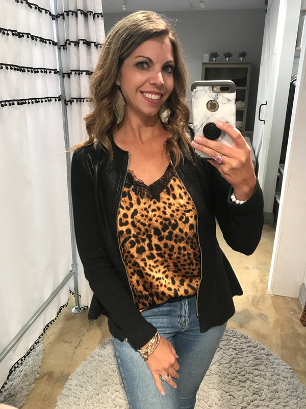 Animal Lace Print Cami - Addi & Ains Boutique