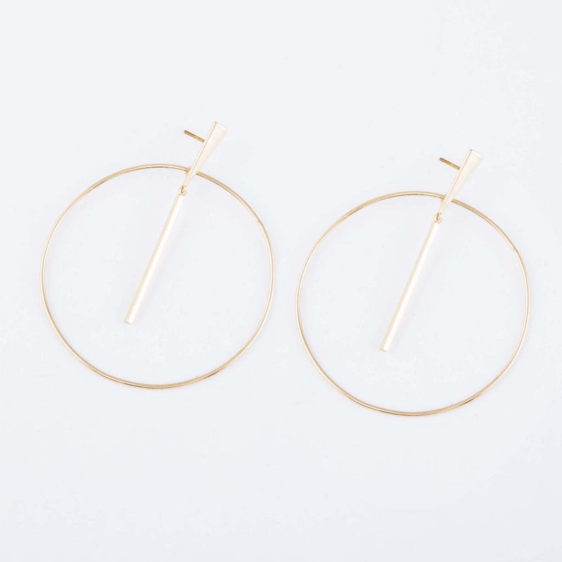 Brass Bar Circle Drop Earrings