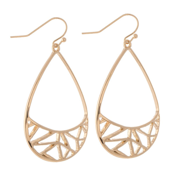Brass Filigree Teardrop Earrings