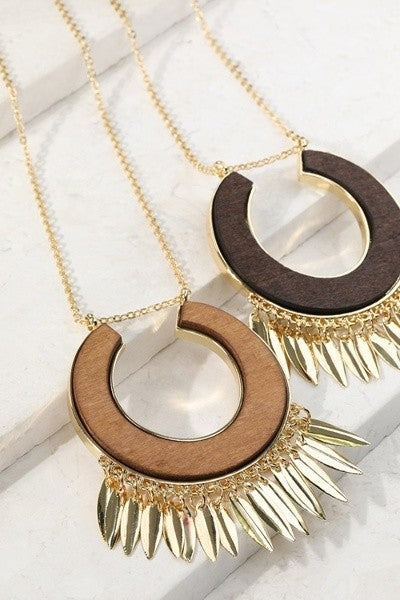 Wood Circle Metal Fringe Necklace - Addi & Ains Boutique