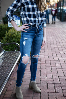 Kendall Mid Rise Destroyed Super Skinny Jean - Addi & Ains Boutique