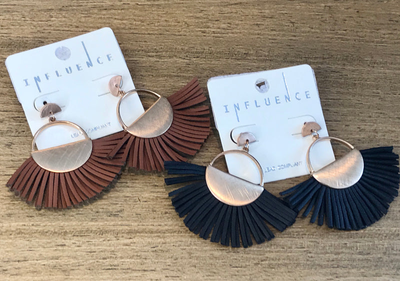 Metal w Tassel Leather Earrings - Addi & Ains Boutique