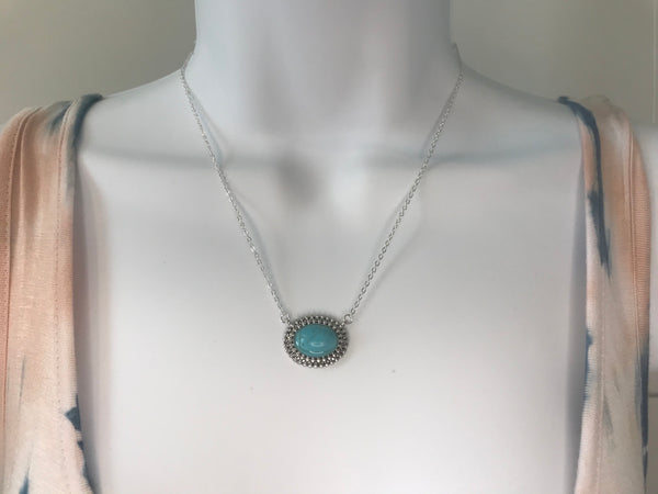 Oval Stone Pendant Necklace - Addi & Ains Boutique