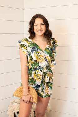 Paisley Palm Leaf Romper - Addi & Ains Boutique