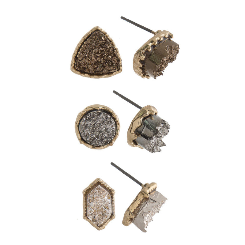 Natural Stone Stud Earrings 3 Pairs