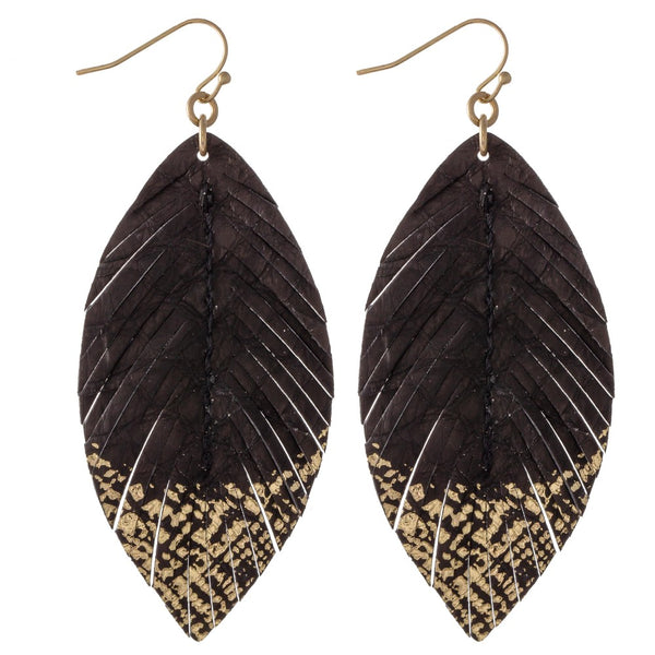 Feather Gold Dip Earrings