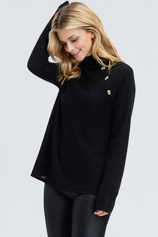 Destiny Waffle Thermal Mock Neck Button Top - Addi & Ains Boutique