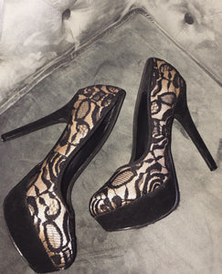 LUXE— lace heels (Thrift) .  SOLD